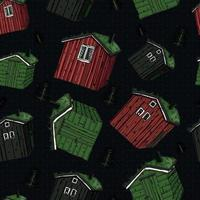Scandinavian colorful red, green, black wooden houses vector