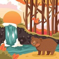 Flora and Fauna Landscape in Autumn vector