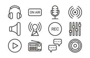 Podcast simple outline icon set vector