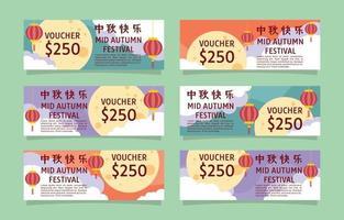 Mid autumn festival gift card set vector