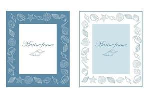 Set of rectangular marine frames with seashells vector illustration