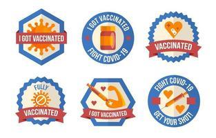 covid-19 después de la placa de vacuna vector