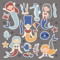 Set Of Cute Mermaids Stickers vector