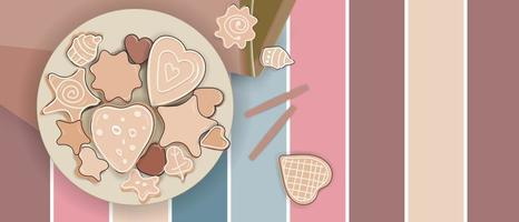 Differrent shapes of cookies in a plate vector