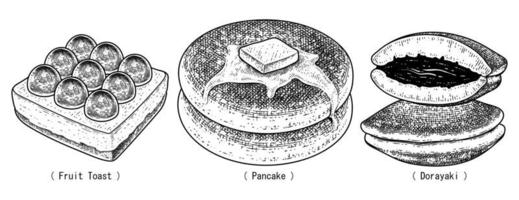 Dessert hand drawn sketch vector. Fruit toast, Pancake, and Dorayaki vector