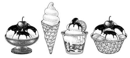Ice cream collection hand drawn sketch decorative vector