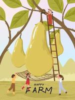 Farmer cartoon characters with pear fruits harvest poster illustration vector