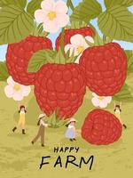 cartoon characters with raspberry fruits harvest poster illustration vector