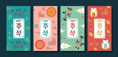 Chuseok card set design vector