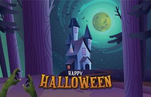 Gloomy Castle and Zombie's Hand in the Dark Forest vector