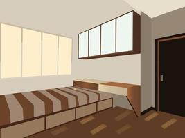 Single Bedroom In Morning Sunlight vector
