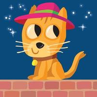 Cat in a hat sitting on a wall at night time vector