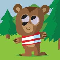 un oso feliz en el bosque con una camiseta a rayas vector