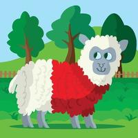 Sheep wearing a red woolly jumper vector
