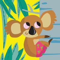 Koala bear climbing a tree in pink jungle shorts vector
