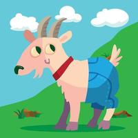 goat on a hill in denim shorts vector