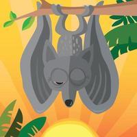 lindo murciélago del amanecer que se despierta cuando sale el sol vector