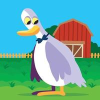 Goose on a farm with a barn and fence in the background vector