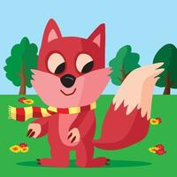 Fox wearing a striped scarf in a field with trees and flowers vector