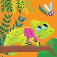 Camaleón en una camiseta en la rama de un árbol mirando una libélula vector