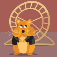 Hamster in black jacket in front of hamster wheel vector
