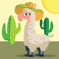 Llama in a wide-brimmed hat with cactus in the background vector