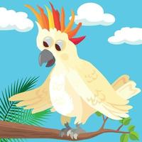 Cute cockatoo spreading her feathers vector