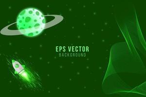 Green planet background vector meteor asteroid rocket plane galaxy