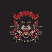 Illustration of stay wild black panther traditional tattoo vector