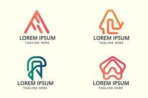 colorido degradado letra a logo set vector gratuito
