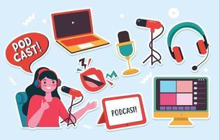Cute Sticker Podcast vector