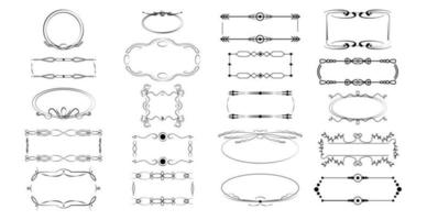 Seth assembly of various elements of the frame ornaments - Vector