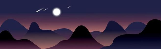 Panoramic mountain evening landscape on the background vector