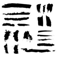 Different strokes of black paint on a white background - Vector