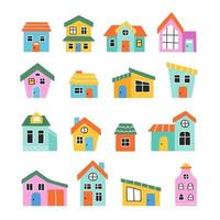 Collection of hand drawn multicolour home and houses. Doodle sketch. vector