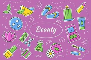 Beauty and cosmetic icons and elements set. Vector sticker collection.