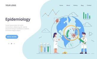 epidemiología. plantilla de página de destino. vector