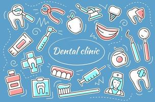 Dental clinic - sticker set. Vector elements and objects dentistry.