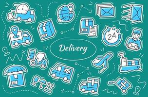 Shipping and delivery sticker set. Vector symbol collection.