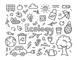 Hand drawn set of ecology. Eco in doodle style. Vector illustration.