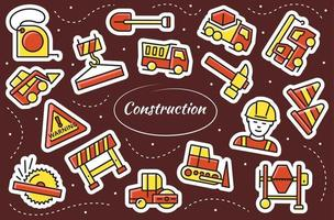 Construction stickers set. Working tools. Simple vector symbols.