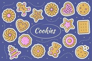 Cookies - sticker set. Gingerbread illustration in vector. vector