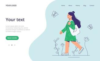 Girl going with eco bag.  Eco friendly concept. Landing page template. vector