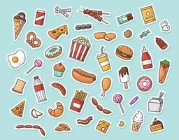 Vector collection of fast food stickers.