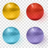 Set of multicolored transparent glass spheres with shadows vector
