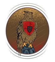 Vector Falcon illustration design seat on the stone