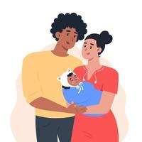 Young parents are holding a small child vector