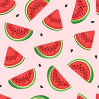 Watermelon pattern on a light pink background vector