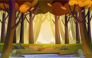 Autumn Forest Scenery Background vector