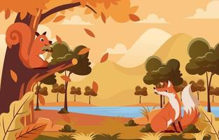 Squirrel and Fox in the Autumn Forest vector